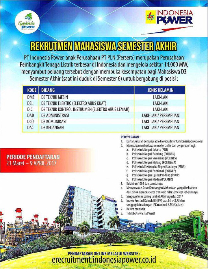 Rekrutmen Mahasiswa Semester Akhir oleh PT Indonesia Power